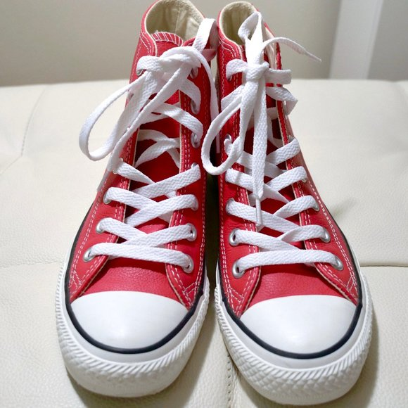 Leather Converse Red High Tops Size